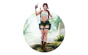 Picture Girl, Minimalism, Figure, Gun, Classic, Tomb Raider, Lara Croft, Art, Beauty, Sexy, Figure, Lara Croft, …