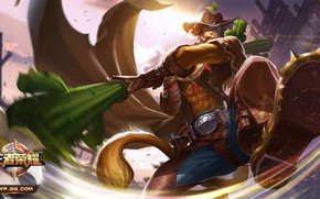Picture fantasy, the game, hat, warrior, monkey, cowboy, King of Glory