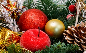 Picture winter, balls, branches, holiday, balls, Christmas, red, New year, gold plated, bump, needles, bokeh, Christmas …
