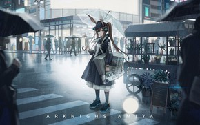 Picture girl, the city, people, rain, umbrella, Arknights, Amiya