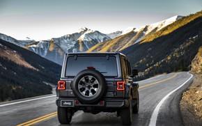 Picture road, mountains, 2018, Jeep, feed, dark gray, Wrangler Sahara