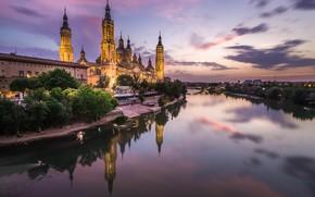 Picture night, river, Cathedral, Spain, Zaragoza