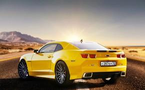 Picture road, yellow, Chevrolet Camaro, Sergey Jakubicki