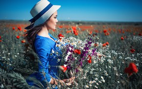 Picture field, summer, girl, flowers, nature, bouquet, hat, dress, brunette, profile, grass, Sergey Shatskov