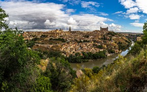 Picture Tagus River, The Tagus River, river, Toledo, Toledo, Spain, trees, panorama, home, Spain