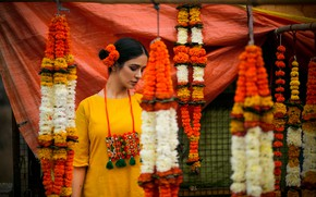 Picture girl, flowers, pose, indian, yellow dress, bollywood, fashion model