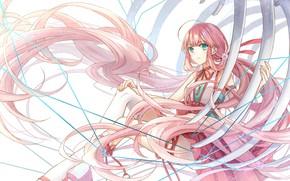 Picture girl, bones, long hair, pink hair, ribs