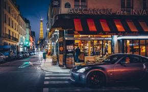 Picture machine, the city, street, France, Paris, building, tower, home, the evening, lighting