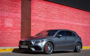 Picture car, machine, wall, Mercedes-Benz, wheels, drives, AMG, grey, wheel, A45, hatchback, sports car, gray car, …