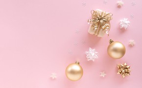 Picture winter, balls, snowflakes, holiday, gift, balls, Christmas, New year, crystals, bows, serpentine, pink background, stars, …