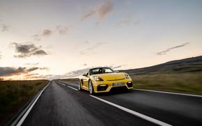 Picture Sunset, Road, Porsche, Speed, Spyder, Porsche 718, 2019, Porsche 718 ( 982 ) Spyder