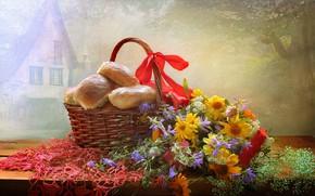 Picture flowers, basket, tape, still life, napkin, cakes, Svetlana Kovaleva