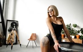 Picture girl, pose, tattoo, glasses, blonde, Alexei Chelnokov