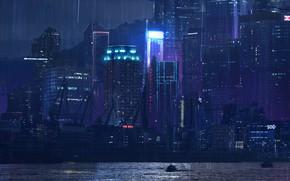 Picture Sea, Port, Night, The city, Neon, Rain, Building, City, Tokyo, Art, Night, Rain, Concept art, …