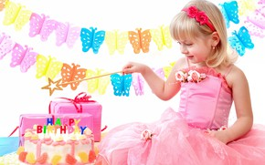 Picture holiday, dress, girl, gifts, cake, Birthday