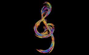 Picture music, colorful, minimalism, digital art, artwork, black background, simple background, musical notes, Violin key