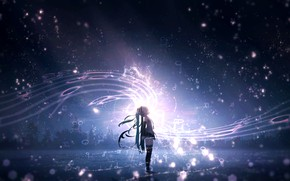 Picture the sky, night, music, Vocaloid, Hatsune Miku