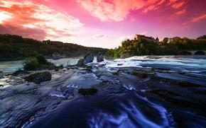 Picture sunset, castle, stream, pond