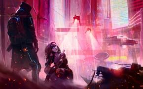 Picture girl, the city, future, rain, the game, neon, art, hood, guy, cyberpunk, rpg, cyberpunk, RPG, …