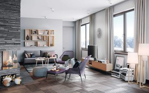 Picture interior, fireplace, Switzerland, living room, Living room, house Alpenrose