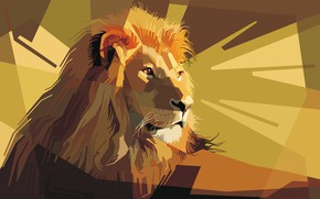 Picture face, mane, Leo, the king of beasts, ears, low poly