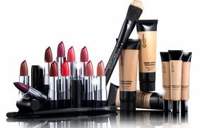 Picture lipstick, brush, cosmetics