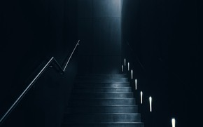 Picture dark, room, interior, staircase, lighting, backlight, 4k ultra hd background