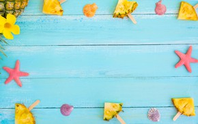 Picture background, starfish, pineapple, slices