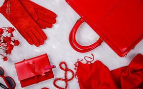 Picture red, style, gloves, accessories, purse, Olena Rudo