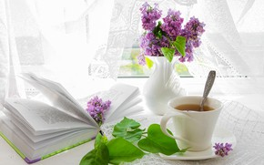 Picture summer, flowers, comfort, table, tea, window, Cup, book, vase, lilac