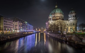 Picture night, the city, lights, river, building, Germany, Berlin