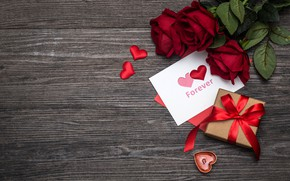 Picture love, flowers, gift, heart, roses, red, love, romantic, hearts, valentine's day, gift, roses