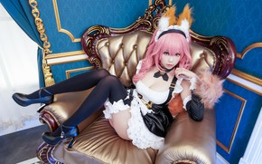 Picture gold, cleavage, pink hair, animal ears, black stockings, blue, walls, chair, cosplay, cute, high heels, …