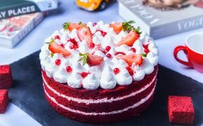 Picture berries, books, cream, strawberry, cake, decoration, layers, cream, dessert, currants, biscuit