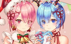 Picture girls, Christmas, gifts, bells, sisters, From scratch, REM, RAM, Re Zero Kara Hajime Chip Isek …
