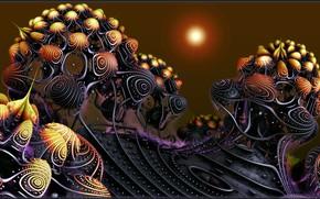Wallpaper star, fantastic landscape, play of colors, another planet, Alien Blooms, alien dawn