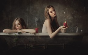 Picture girl, candles, bath, Marco Redaelli