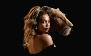 Picture girl, lioness, The Lion King, The lion king
