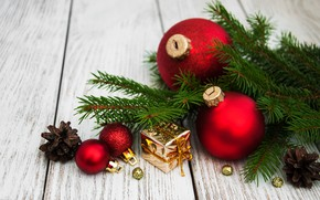 Picture decoration, balls, New Year, Christmas, christmas, balls, wood, merry, decoration, fir tree, fir-tree branches