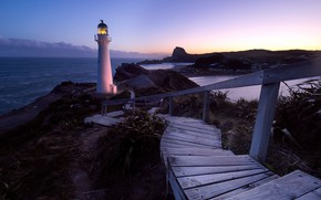 Picture night, shore, lighthouse, New Zealand, Wellington, Castlepoint