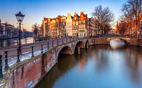 Picture light, trees, landscape, bridge, river, people, street, view, Windows, building, home, spring, the fence, Amsterdam, …