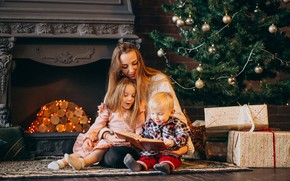 Picture love, joy, happiness, children, woman, tree, gifts, New year, book, fireplace, mom