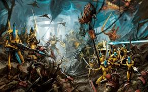 Picture eldar, orcs, warrior, Warhammer 40 000, warlock, Avatar of Khaine, craftworld, Iyanden, WAAAGH!!!, ghost kinght, …