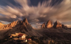 Picture the sky, clouds, landscape, mountains, nature, home, Italy, the Dolomites, Michaluk Sergey