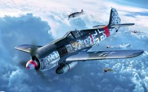 Picture Focke-Wulf, Fw.190A-8, Sturmbock, 2x20-mm cannon MG 151, 2x30-mm MK 108 cannon, Klaus Bretschneider, 5.(Sturm)/JG300, Defence …