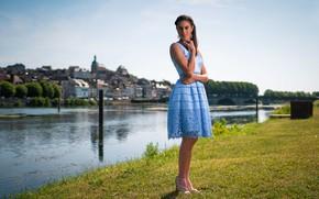 Picture girl, shore, river, dress, Chloe
