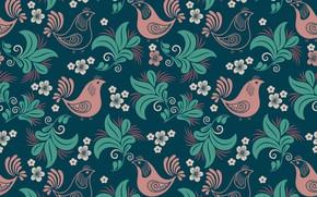 Picture flowers, pattern, texture, birds, black background