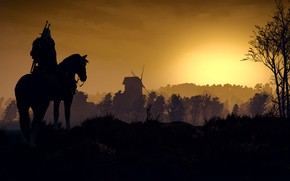 Picture sunset, mill, the Witcher, Geralt, The Witcher 3: Wild Hunt, roach