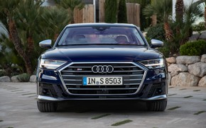 Picture blue, Audi, sedan, front view, Audi A8, Audi S8, 2020, 2019, V8 Biturbo