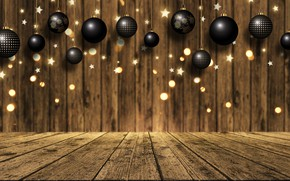 Picture background, Board, golden, gold, christmas, gold, new year, balls, wood, background, bokeh, bokeh, celebration, sparkle